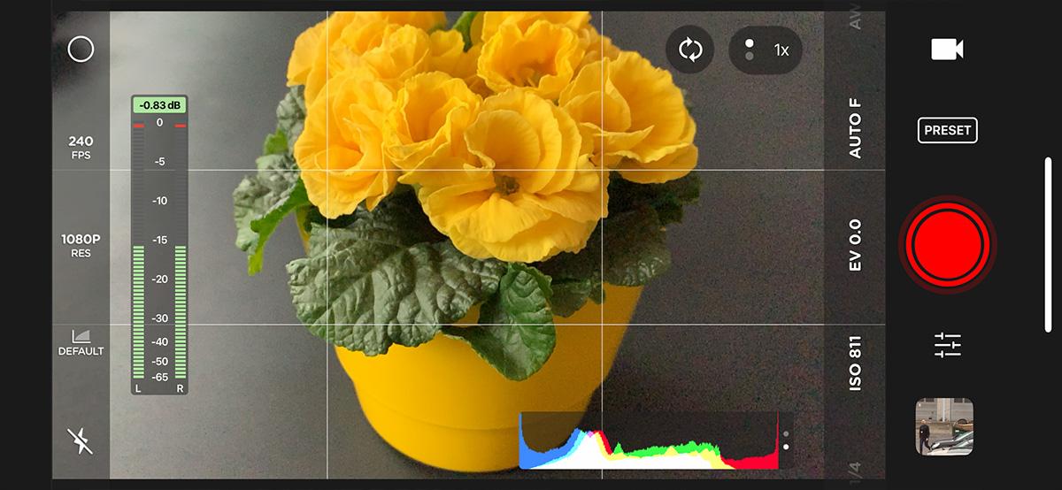 Interfejs aplikacji Moment Pro Camera